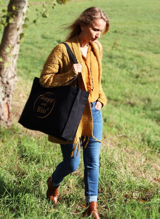 Shopping bag noir photo 2 happy and bio